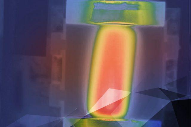 Wärmebildaufnahme zeigt Poliertemperatur auf polierter Oberfläche.