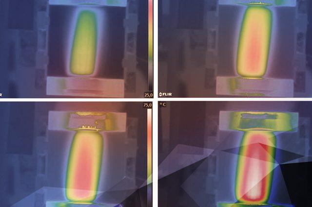 Wärmebildaufnahme des Polierprozesses von PUR-Lacken beim Polieren. Die optimale Temperatur ist ein essentieller Faktor für die Oberflächenbearbeitung.